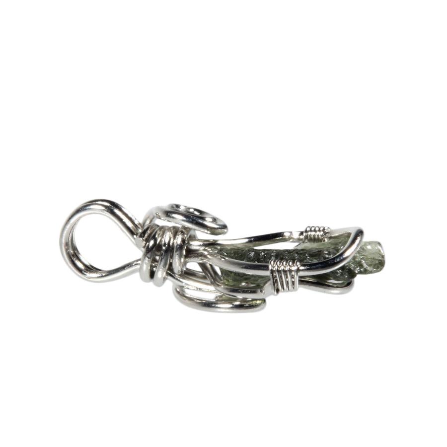 Zilveren hanger moldaviet | ruw gezet 1,6 x 1,3 cm