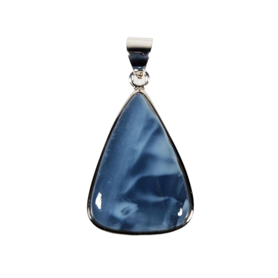 Zilveren hanger opaal (blauw) | druppel 3 x 2,1 cm