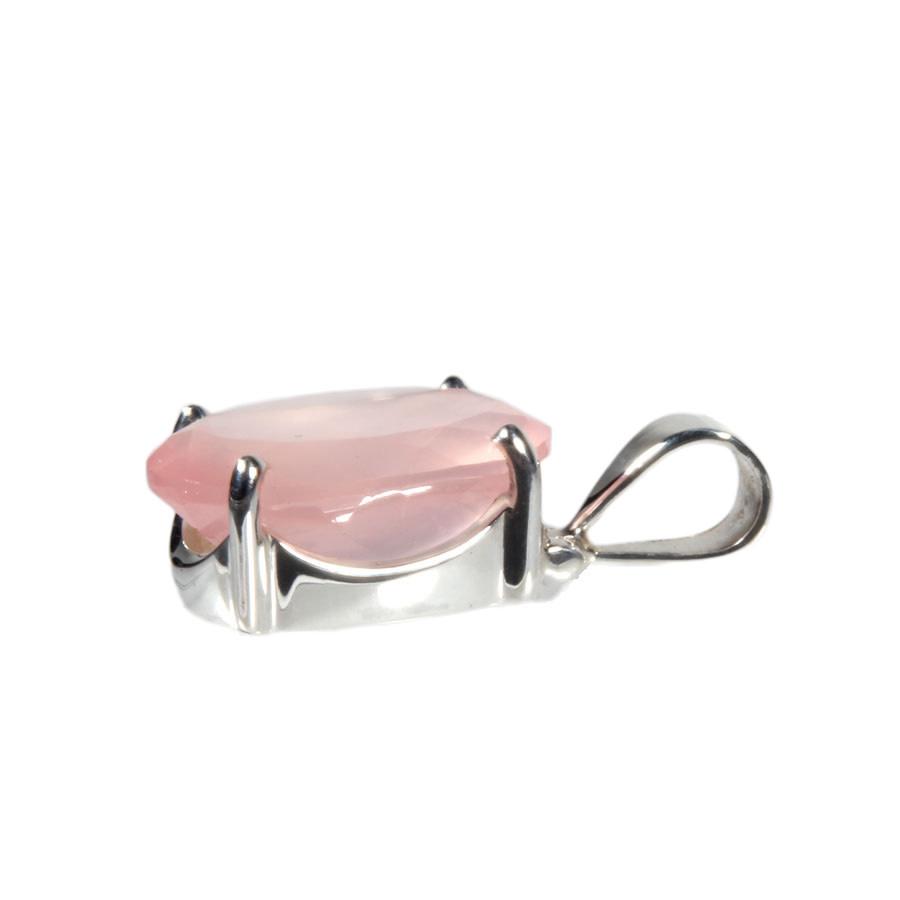 Zilveren hanger rozenkwarts | ovaal facet gezet 2 x 1,5 cm