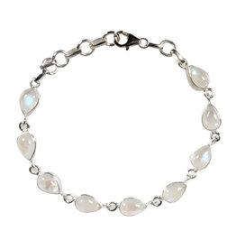Zilveren armband maansteen (regenboog)   druppel 9 stenen