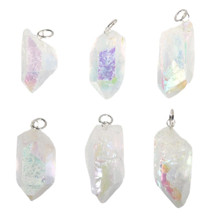 Angel aura golden healer kwarts hanger kristal met zilveren oogje