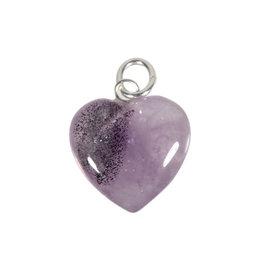 Auraliet 23 hanger hart 15 mm met zilveren oogje