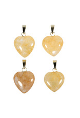 Azeztuliet (gouden Himalaya) hanger hart 15 mm met 14k gouden oogje