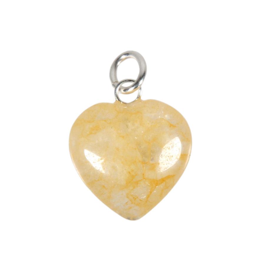 Azeztuliet (gouden Himalaya) hanger hart 15 mm met zilveren oogje
