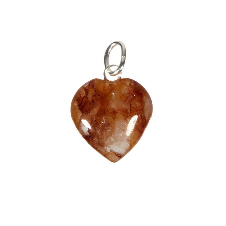 Azeztuliet (rood/goud Himalaya) hanger hart 15 mm met zilveren oogje