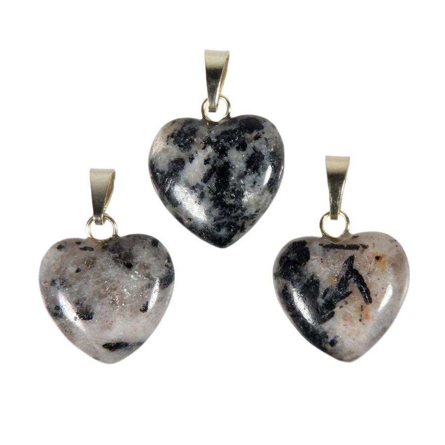 Azeztuliet met zwarte toermalijn hanger hart 15 mm met 14k gouden oogje