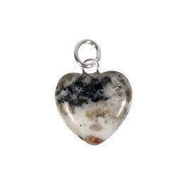 Azeztuliet met zwarte toermalijn hanger hart 15 mm met zilveren oogje