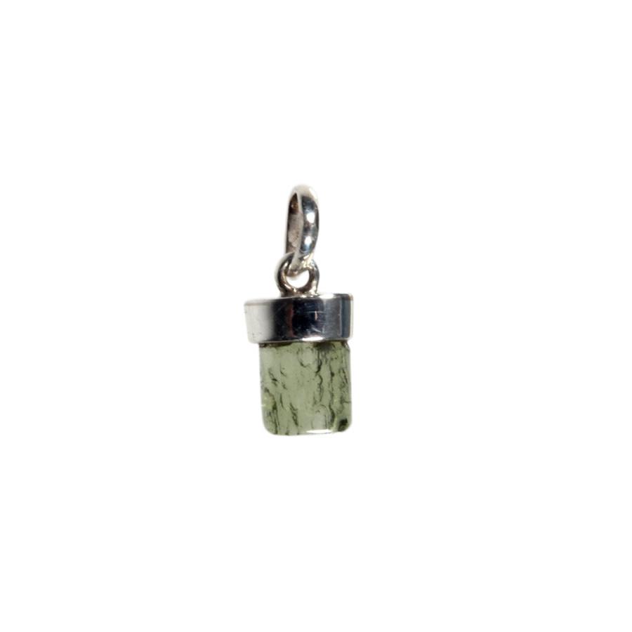 Zilveren hanger moldaviet   half gepolijst 7 x 7,5 mm