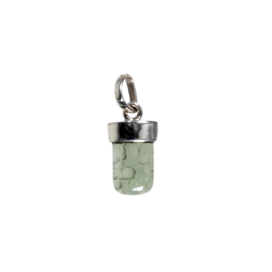 Zilveren hanger moldaviet   half gepolijst 9 x 8 mm