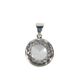 Zilveren hanger bergkristal | rond facet 2,1 cm