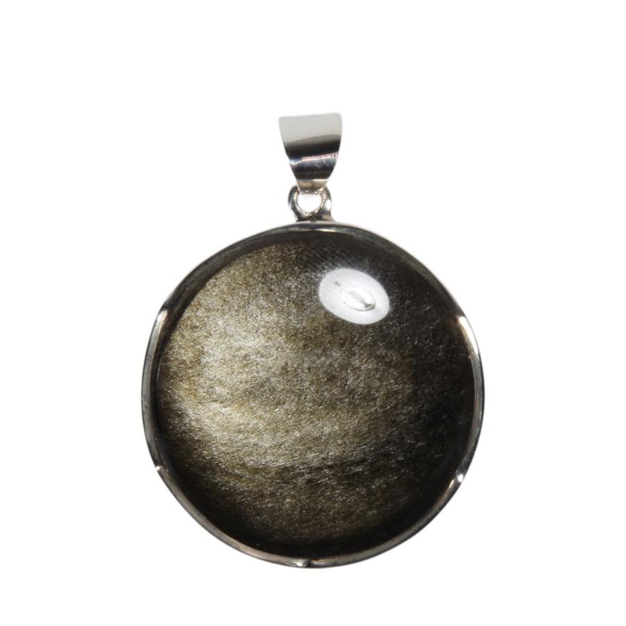 Zilveren hanger obsidiaan (goud) | rond 3,3 cm