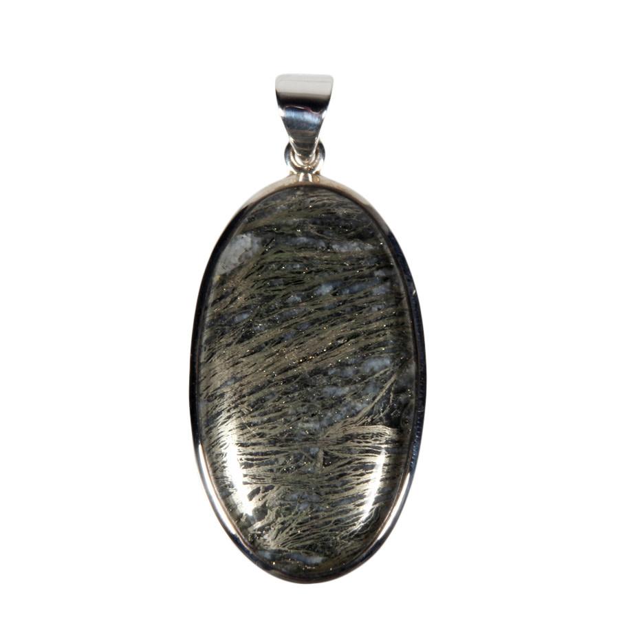Zilveren hanger pyriet (veer) | ovaal 3,9 x 2,2 cm