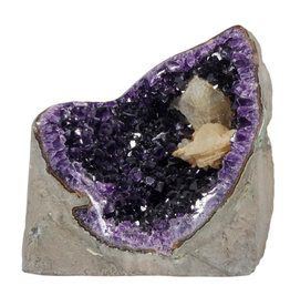 Amethist geode met calciet kristal 17 x 9,5 x 17,5 cm | 2907 gram