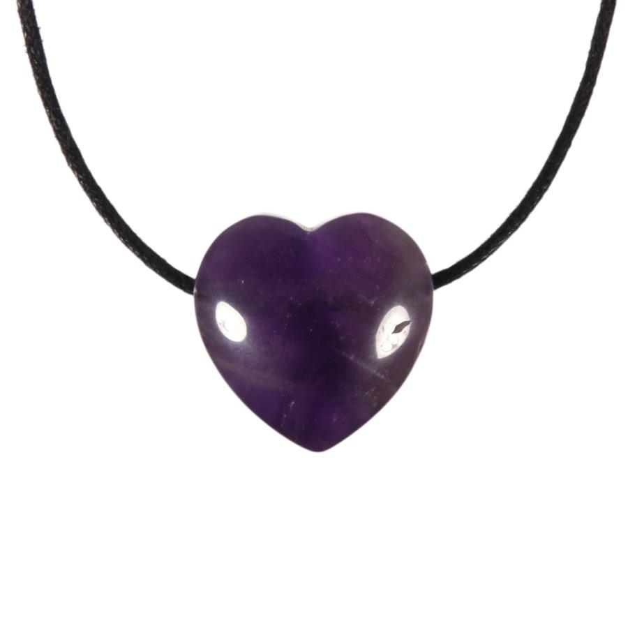 Amethist (donker) hanger hart klein doorboord