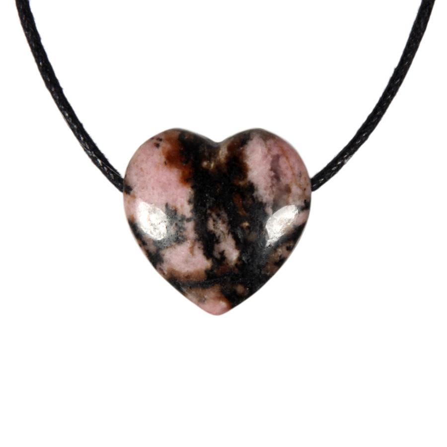 Rhodoniet (roze met zwart) hanger hart klein doorboord