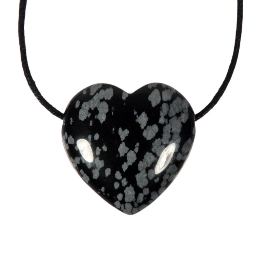 Obsidiaan (sneeuwvlok) hanger hart doorboord