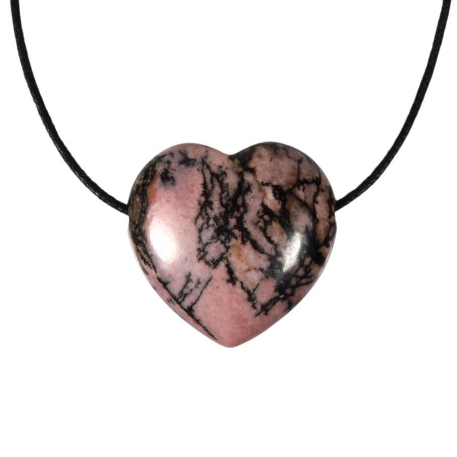Rhodoniet (roze met zwart) hanger hart doorboord
