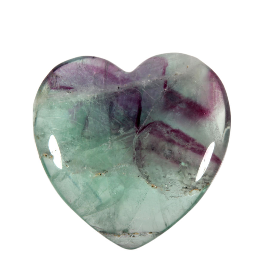 Fluoriet (multi) edelsteen hart 4 cm