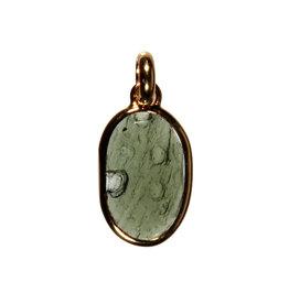 Gold filled hanger moldaviet   ovaal facet half gepolijst 1,9 x 1,2 cm
