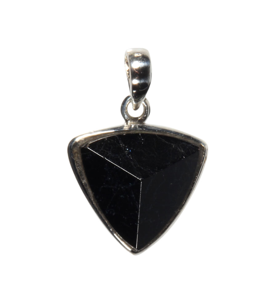 Zilveren hanger toermalijn (zwart) | driehoek 2,1 x 2,1 cm
