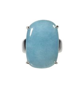 Zilveren ring aquamarijn maat 19 | ovaal gezet 2,5 x 1,6 cm