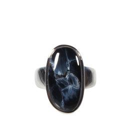 Zilveren ring pietersiet (blauw) maat 18   ovaal 2,2 x 1,1 cm