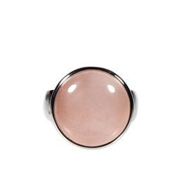 Zilveren ring rozenkwarts maat 19 1/2 | rond 1,8 cm