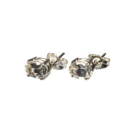 Zilveren oorstekers labradoriet (goud) ovaal 7 x 5 mm