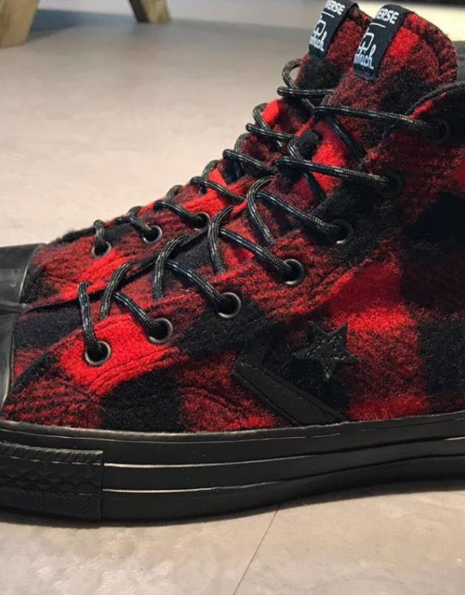 Converse Converse by Woolrich Star Player Red Black Wool Plaid