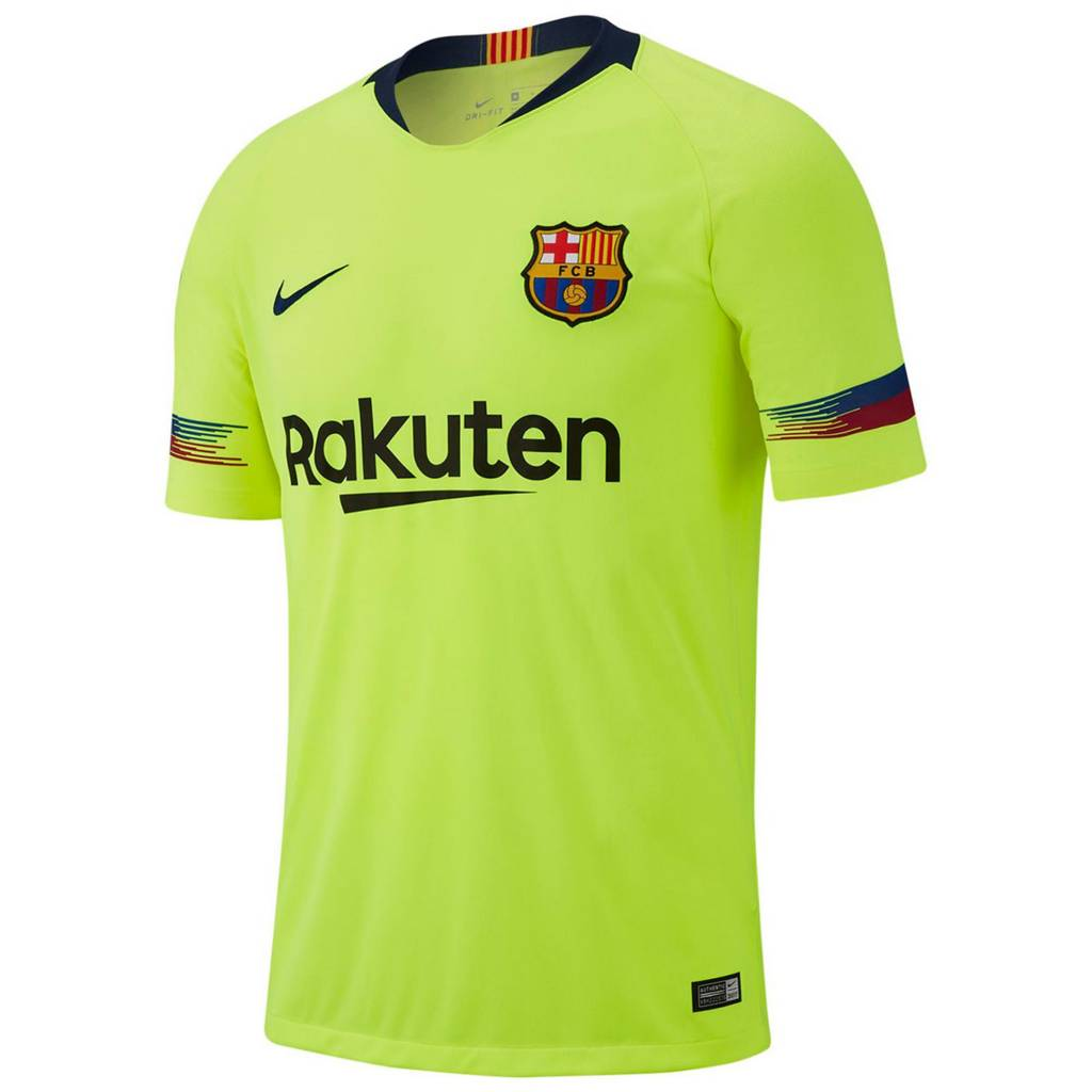 FC Barcelona Breathe Stadium Uitshirt 2018-2019 Volt / Deep Royal Blue
