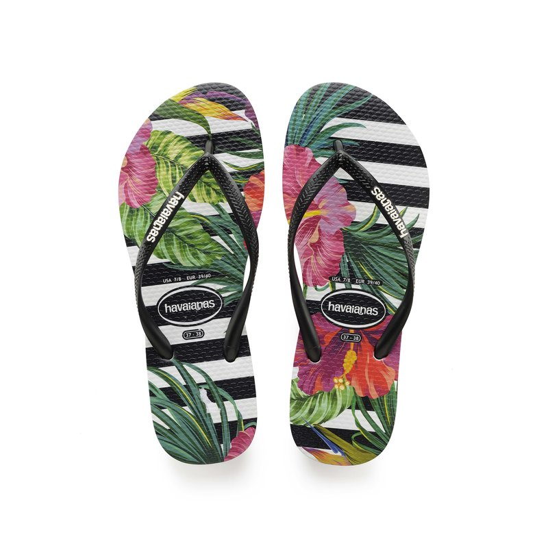 Slim Tropical Floral Zwart