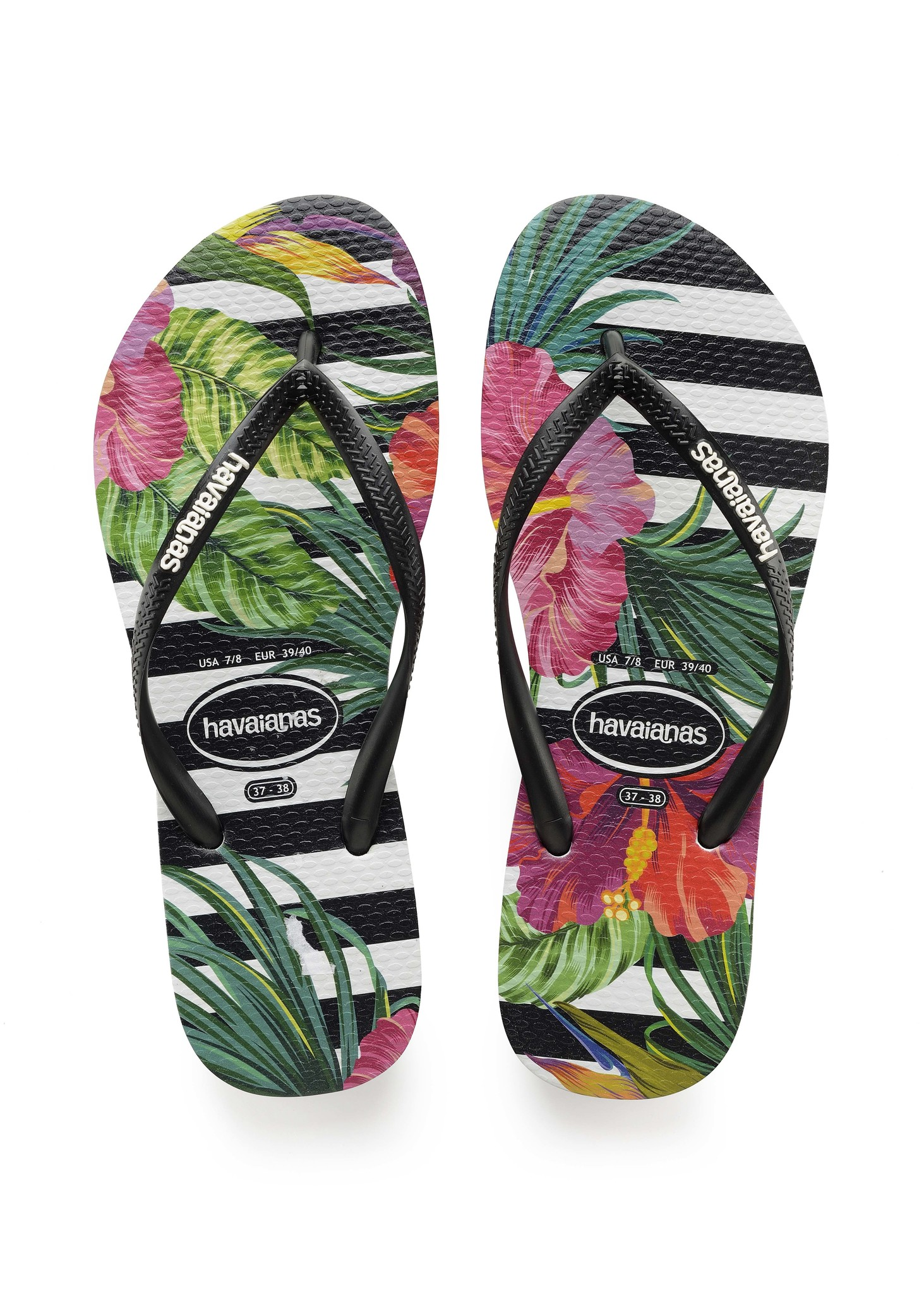 Slim Tropical Floral Zwart