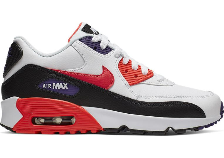 Air Max 90 Leather GS Wit / Zwart / Rood