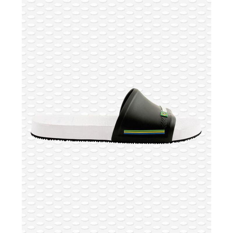 Slide Brasil Wit / Zwart