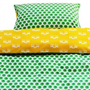 Blafre Design baby duvet cover green / yellow flowers / deer
