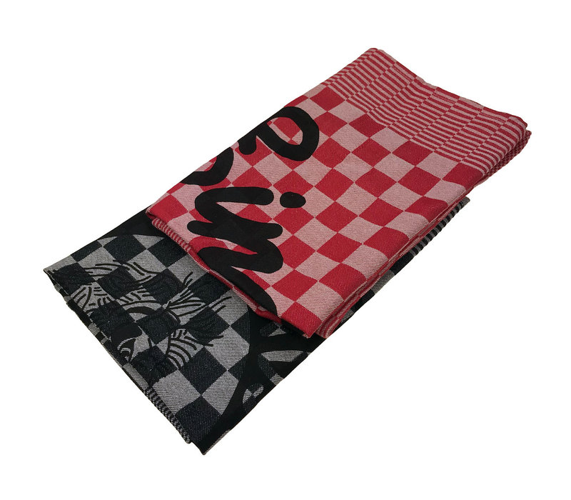Eindje Tea Towel Set Black / Red