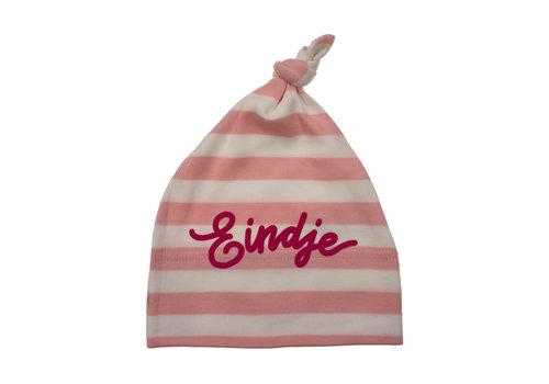 Eindje Eindje Baby Stripy One-knot Hat | Powder Pink / White