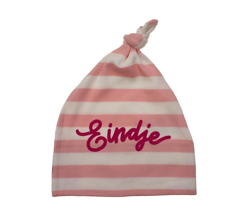 Eindje Baby Stripy One-knot Hat | Poeder Roze / Wit