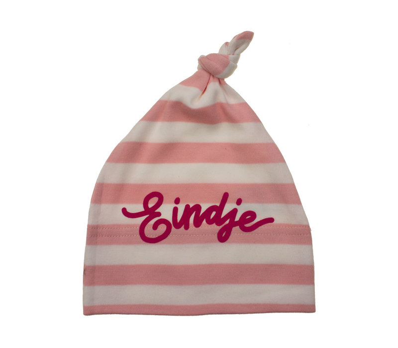 Eindje Baby Stripy One-knot Hat | Powder Pink / White