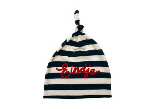 Eindje Eindje Baby Stripy One-knot Hat | Nautical Navy /  Washed White