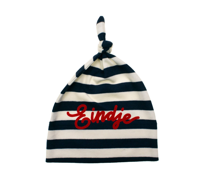 Eindje Baby Stripy One-knot Hat | Nautical Navy /  Washed White