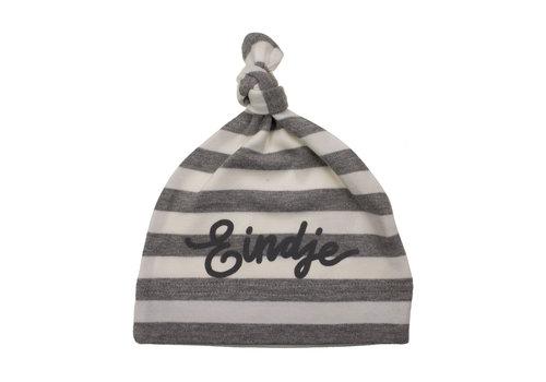 Eindje Eindje Baby Stripy One-knot Hat | Light Grey Melange/ White