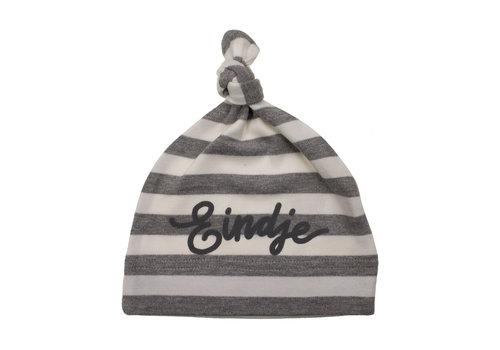 Eindje Eindje Baby Stripy One-knot Hat | Sport Grijs Melange  / Wit