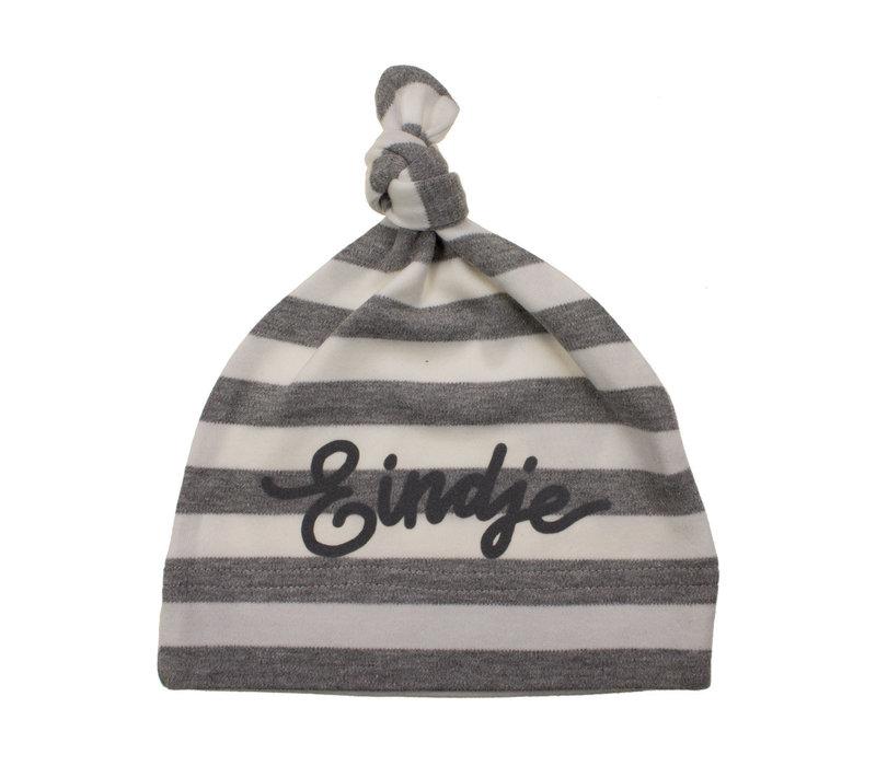 Eindje Baby Stripy One-knot Hat | Light Grey Melange/ White