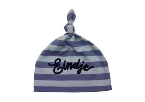 Eindje Eindje Baby stripy one-knot Hat | Antique Blue / Dusty Blue