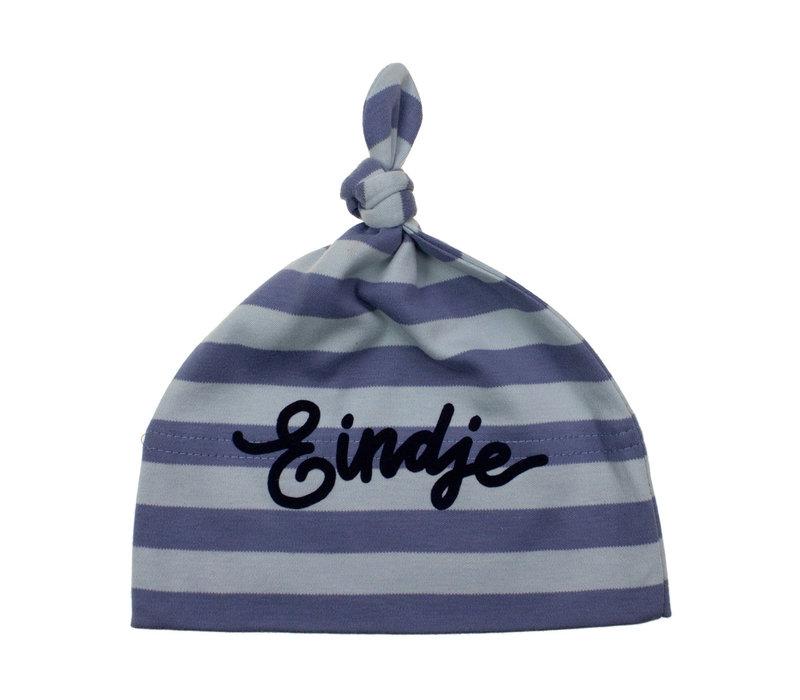 Eindje Baby stripy one-knot Hat | Antique Blue / Dusty Blue