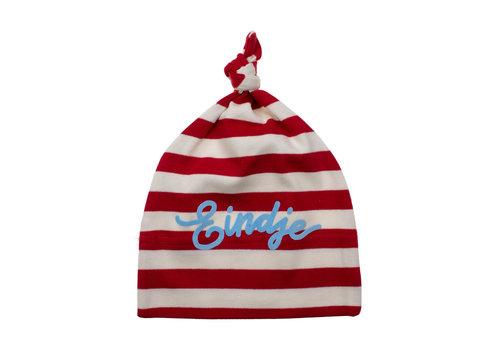 Eindje Eindje Baby stripy one-knot Hat | Red/ Washed White