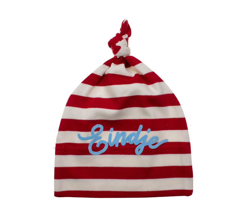 Eindje Baby stripy one-knot Hat | Red/ Washed White