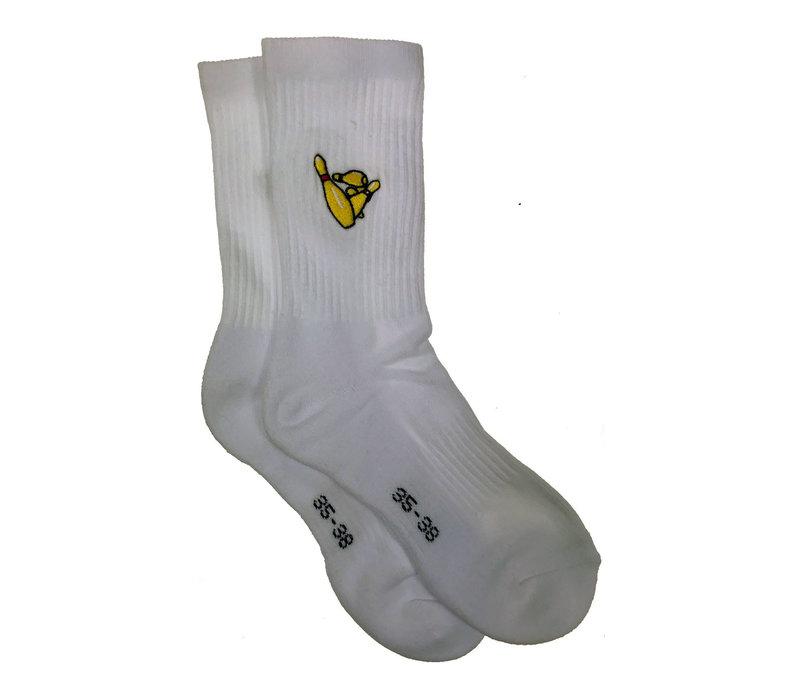 Eindje Pins Sokken - Wit  - Geborduurd