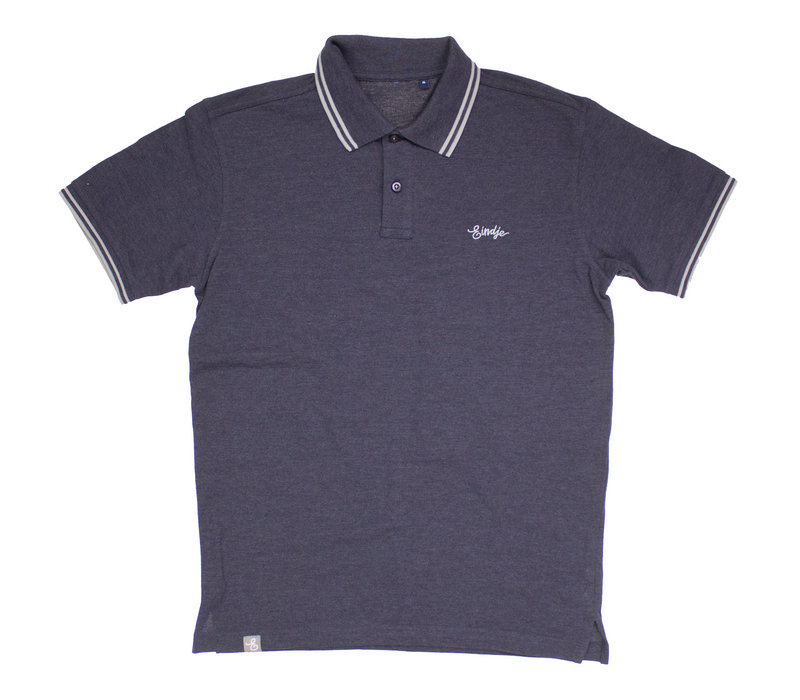 Eindje Fitted Polo |  Navy Heather / Heather Grey